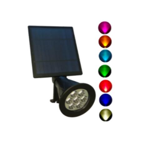 Foco LED Solar de Jardín 2W Redondo RGB